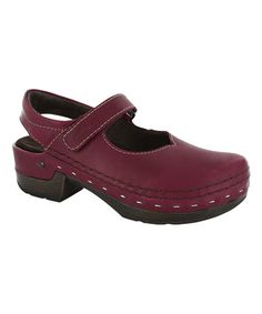 53d46080d853 This Pomegranate Melanie Leather Clog by Wolky is perfect!  zulilyfinds  Leather Clogs