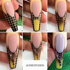 TUTORIAL... #AlfreStudios #tonesspain #nails #nailart #tutorial #art #style #spain Edge Nails, Glam Nails, Nail Manicure, Wonder Nails, Diy Acrylic Nails, Funky Nail Art, Nail Techniques, Organic Nails, Nail Forms