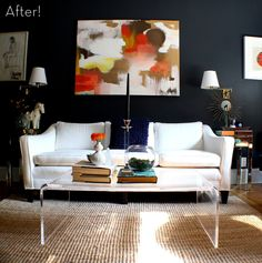 Love this dramatic living room makeover!