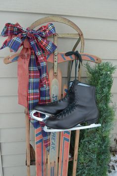 Mens Ice Skates Old Vintage Black Skates Winter by bluefolkhome