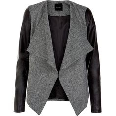 Black Textured Contrast Leather Look Sleeved Blazer (69 CAD) ❤ liked on Polyvore featuring outerwear, jackets, blazers, black vegan leather jacket, open front blazer, black fake leather jacket, synthetic leather jacket and faux leather jacket