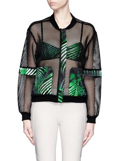 We Are Handsome | Green 'the Kinabalu' Print Active Mesh Bomber Jacket | Lyst: