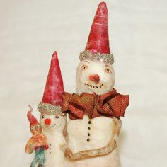 Primitive spun cotton snowman father and son pair | Flickr - Photo Sharing!