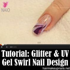 Glitter And UV Gel Swirl Nail Design