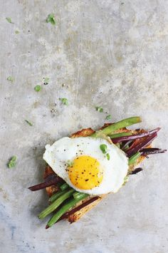 Garlicky Beet Green + Green Bean Open-faced Egg Sandwiches | With Food + Love