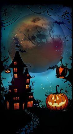 Halloween Artwork, Halloween Painting, Halloween Prints, Halloween Pictures, Halloween Themes, Vintage Halloween, Spooky Halloween, Witchy Wallpaper, Halloween Wallpaper Iphone