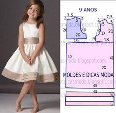 O molde de vestido criança encontra-se no tamanho 9 anos. A ilustração do molde de vestido criança não tem valor de costura.                                                                                                                                                                                 Mais