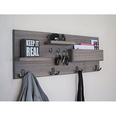 Amazon.com: Renewed Decor Farmhouse Rustic Mail Organizer Featuring Customizable Number of Key Hooks, Shelf, Mail Slot, available in 20 Colors: Handmade