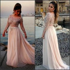 pale pink long sleeve beaded prom dress, stunning! #prom2015 #prom2k15