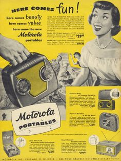 1949 Motorola Portables Ad Radio Phonograph by AdVintageCom