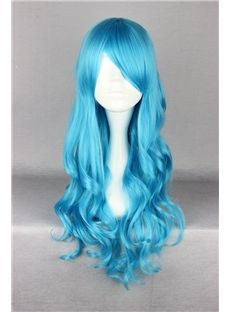 d3b17351a92 Sell it yourself Details about Dark Blue Long Curly Stylish Lolita Women  Girl Anime Cosplay Hair Full Wig