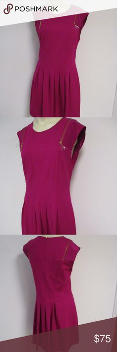 """Ted Baker Danu Fuschia Dress # US 6 8 Ted Baker DANU - Zip detail dress  Size 3 fits US size 6/8  Hot pink  A chic jersey dress  Back zipper  Exposed zip detail on the shoulders  Pleat detail skirt  Sleeveless and round neckline  Care Information Dry Clean.  Fabric Details Main: 64% Viscose 31% Nylon 5% Elastane Trim: 100% Silk.  New without tag. Inside label may be cut or marked through to prevent returns.  Retail price $164  Bust- 17-18.5"""" laid flat to measure Waist- 31"""" Hips-44"""" Length…"""