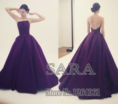 ==> [Free Shipping] Buy Best 2015 New Fashion Strapless A-Line High Quality Ruched Satin Evening Dress Purple Evening Gown 2015 Prom Dress Online with LOWEST Price | 32396842021