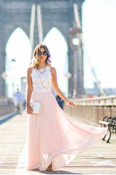 Long Chiffon Evening Dress Featuring Lace Sleeveless Bodice