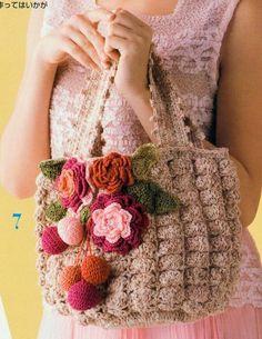 Bolso de Crochet con Flores Patron - Patrones Crochet