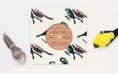 Bird Pattern Record with Sleeve Invitation by ElloThere on Etsy
