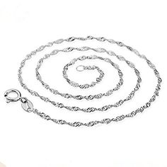 Fly S925 Sterling Silver 2 MM Wavy Chain Lightweight Strong  Spring Ring Clasp 18 -- More info could be found at the image url.