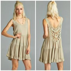 Beautifully crocheted low back dress! Also available in Coral.