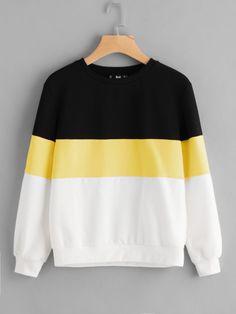 Shop Cut And Sew Sweatshirt online. SheIn offers Cut And Sew Sweatshirt & more t - Sweat Shirt - Ideas of Sweat Shirt - Shop Cut And Sew Sweatshirt online. SheIn offers Cut And Sew Sweatshirt & more to fit your fashionable needs. Printed Sweatshirts, Hooded Sweatshirts, Cute Sweatshirts, Teen Fashion, Fashion Outfits, Fashion Black, Fashion Styles, Fashion Fashion, Latest Fashion