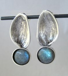 Silver and Labradorite Pistachio Nut Earrings