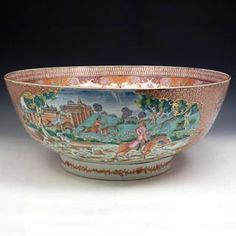 Chinese Export Hunt Bowl, Porcelain. Find this and other ceramics at CuratorsEye.com.