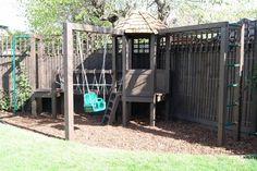 Playframe with rope bridge, play house, monkey bars, swing, fireman's pole 5