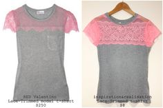 DIY Red Valentino lace-trimmed t-shirt