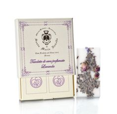 Santa Maria Novella LAVENDER Wax Tablets. Lavender and rose oils, lavender blossoms and rose buds are all combined with (from the hives of Santa Maria Novella) for a fresh, romantic scent. 100% organic and natural essential oil is mixed with beeswax from the fertile Tuscan fields and bee farms of Santa Maria Novella. Tablets are completely safe and organic and will not stain clothing or fabrics. Contains two 2x4 inch tablets per box with removable ribbons.