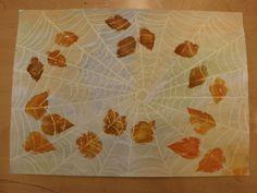 Hämäkäkin seitissä syksyisiä lehtiä.