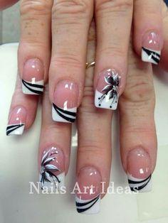 French Nails - French Nail Tip Ideas, French Nail Polish, French Tip Nail Designs Classy Nail Designs, French Nail Designs, Nail Art Designs, Nails Design, Pedicure Designs, Flower Design Nails, Fingernail Designs, Beautiful Nail Art, Gorgeous Nails