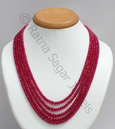 Pink Sapphire Beads Faceted Rondelle : Natural translucent hot pink colour in micro cut roundels in form of 4 strand necklace stung and tied with adjustable silk knot in 17 to 19 inches length strand. @ http://www.ratnasagarjewels.com/exclusive-semi-precious-gemstone-beads-necklace.html#