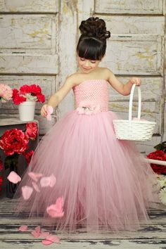 Pink Flower Girl Wedding Tutu Dress by krystalhylton on Etsy