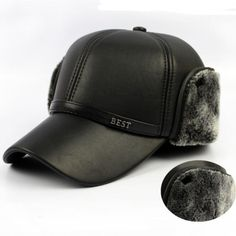 HT647 Warm Winter Leather Fur Baseball Cap Ear Protect Snapback Hat for Women High Quality Winter Hats for Men Solid Russian Hat