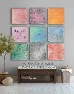 summer sunrise abstract Painting,  9 square CUSTOM abstract artwork, abstract wall art,-  Orange, Yellow, Purple, Pink, white.