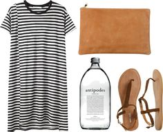 simple. tee shirt dress. breton stripe. sandals. tan clutch.