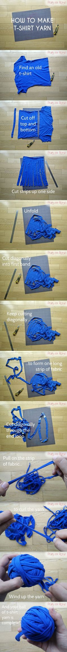 diy_crafts- How to make t-shirt yarn : recycle old t-shirst into something new by cutting them up to make yarn Crochet Crafts, Yarn Crafts, Fabric Crafts, Sewing Crafts, Yarn Projects, Knitting Projects, Crochet Projects, Sewing Projects, Sewing Tips
