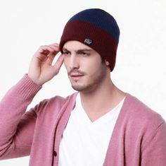 1e2d960f792 Leisure striped beanie hat for men winter outdoor wear. Mens Winter  BeaniesMens Knit BeanieBeanie HatsWinter ...