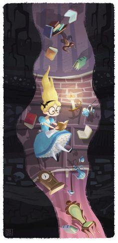 Bill Robinson ||| Alice in Wonderland, down the rabbit hole, white, Disney