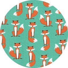 Andie Hanna for Robert Kaufman, Fabulous Foxes, Sly Aqua