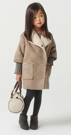 New Kids Girls Winter Clothes Fleece Outerwear Long Trench Wind ...