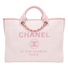 Chanel Pink Canvas Large Deauville Shopping Tote | 1stdibs.com