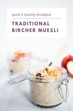 This traditional Bircher muesli with grated apples and raisins is healthy, delicious and waiting for you in the fridge when you wake up. It's the ultimate breakfast for anyone who wants to eat healthy while not spend hours in the kitchen every day. #overnightoats