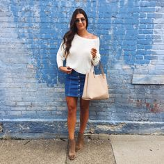 A Southern Drawl. White sweater+denim skirt+brown ankle boots+ivory tote bag+sunglasses. Fall casual outfit 2016