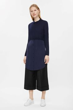 COS image 1 of Merino wool silk skirt dress in Navy