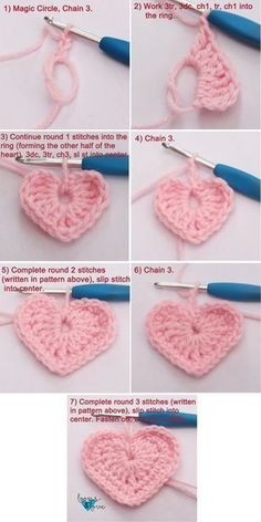 Easy Crochet Hearts Loops & Love Crochet These crochet hearts work up q., Easy Crochet Hearts Loops & Love Crochet These crochet hearts work up quickly and are fun to make! They are perfect for your Valentine's Day . Crochet Flower Patterns, Crochet Motif, Crochet Designs, Crochet Flowers, Crochet Stitches, Crochet Baby, Crochet Ideas, Easy Crochet Flower, Crochet Feather