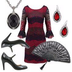 Outfit ispirato al tango! Sarà l'abito in pizzo rosso e nero, vaporoso con maniche a campana. Décolleté nero con chiusura alla caviglia. Ciondolo nero ed orecchini rossi. Immancabile ventaglio nero in pizzo.