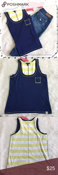 ɴᴡᴛ тoммy нιlғιger paтcн pocĸeт racerвacĸ тanĸ Tommy Hilfiger racer back tank. This super cute tank is ready to rock the summer. Dark blue front, patch breast pocket, contrasting yellow stitching and yellow/white striped back. Small TH logo on lower hem. Size M. Tommy Hilfiger Tops Tank Tops