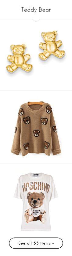 """""""Teddy Bear"""" by lysianna ❤ liked on Polyvore featuring cute, teddybear, teddy, cuddle, bear, jewelry, earrings, gold, 14 karat gold earrings and 14 karat gold stud earrings"""
