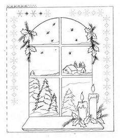 T T tree window candle Christmas Bible, Christmas Art, Christmas Coloring Pages, Coloring Book Pages, Soda Can Crafts, Parchment Cards, Paper Artwork, Theme Noel, Christmas Drawing