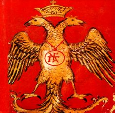 Palaiologos - Double-headed eagle with the family cypher - Palaeologoi eagle XV c Byzantine miniature. Ancient Aliens, Ancient Rome, Hellenic Army, Greek Flag, Double Headed Eagle, Alternate History, Byzantine, Coat Of Arms, Archaeology